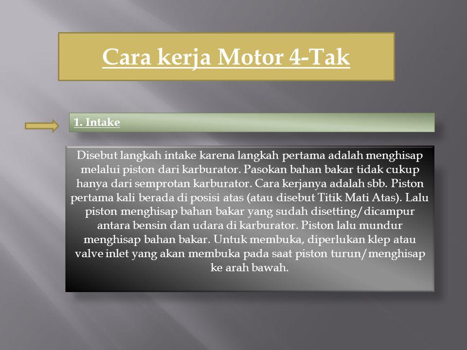 Cara kerja Motor 4-Tak 1. Intake