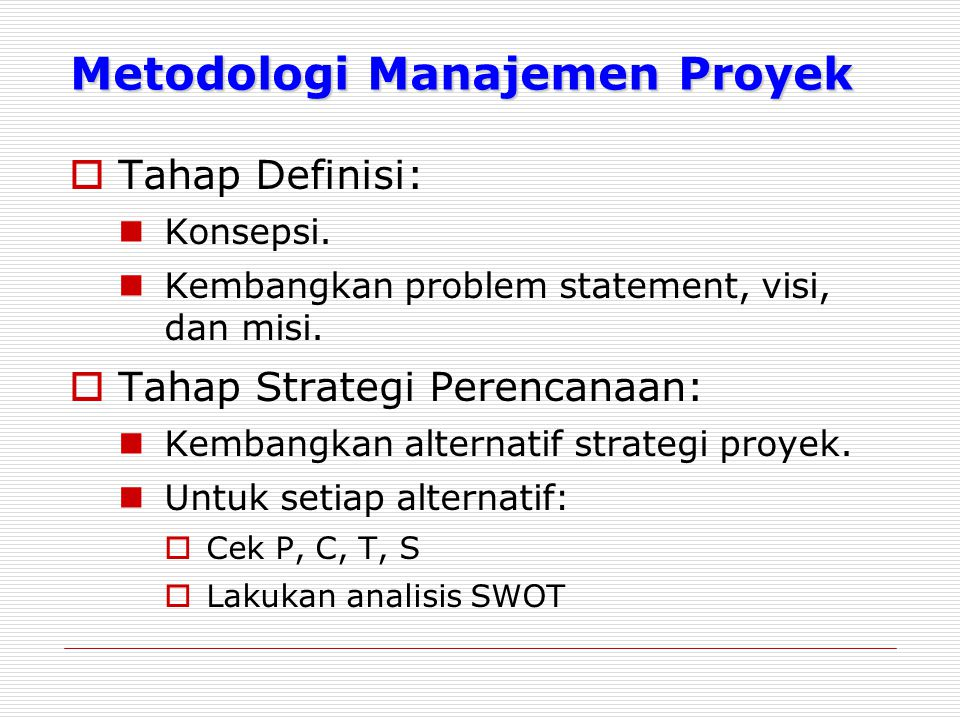 Metodologi Manajemen Proyek