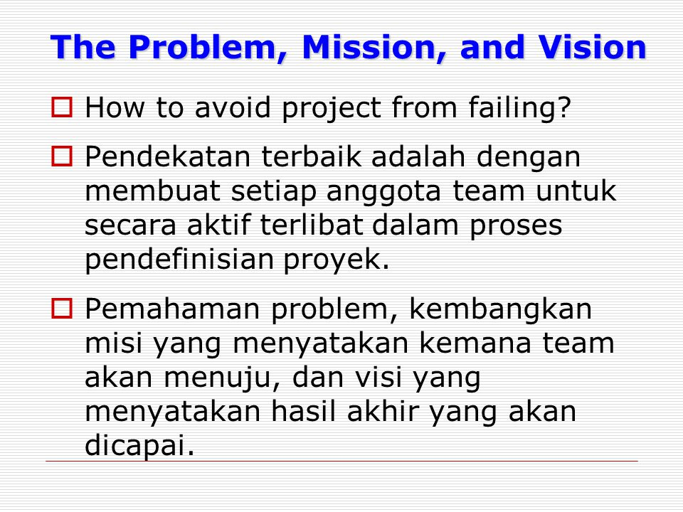 The Problem, Mission, and Vision