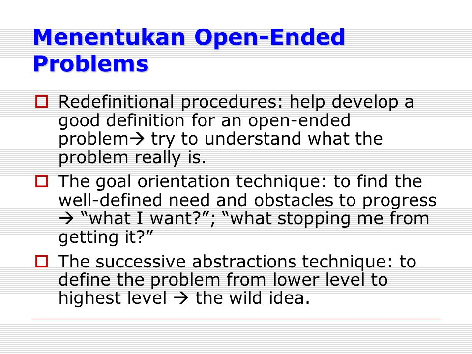 Menentukan Open-Ended Problems