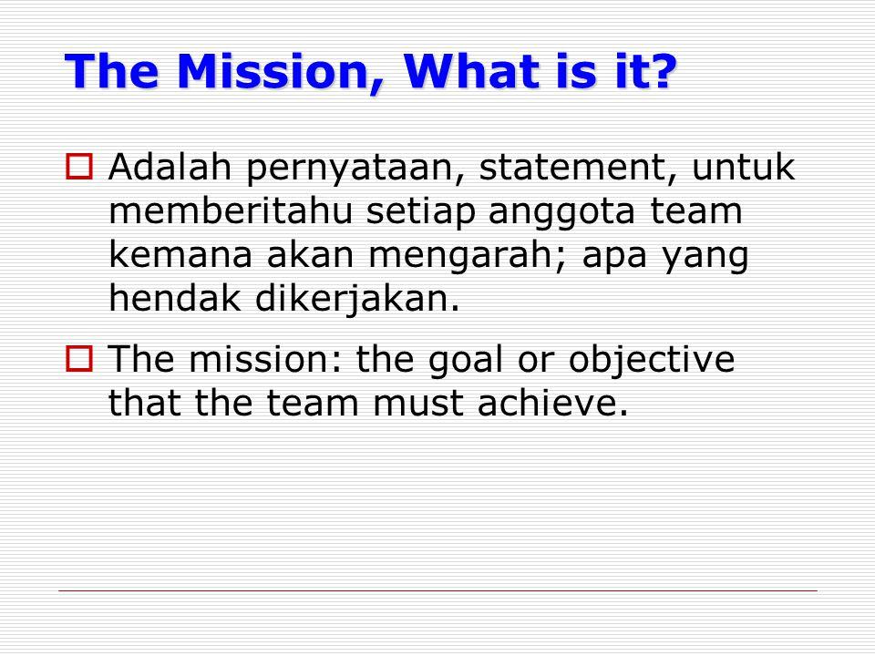 The Mission, What is it Adalah pernyataan, statement, untuk memberitahu setiap anggota team kemana akan mengarah; apa yang hendak dikerjakan.