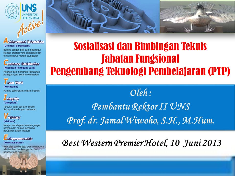 Oleh : Pembantu Rektor II UNS Prof. dr. Jamal Wiwoho, S.H., M.Hum.