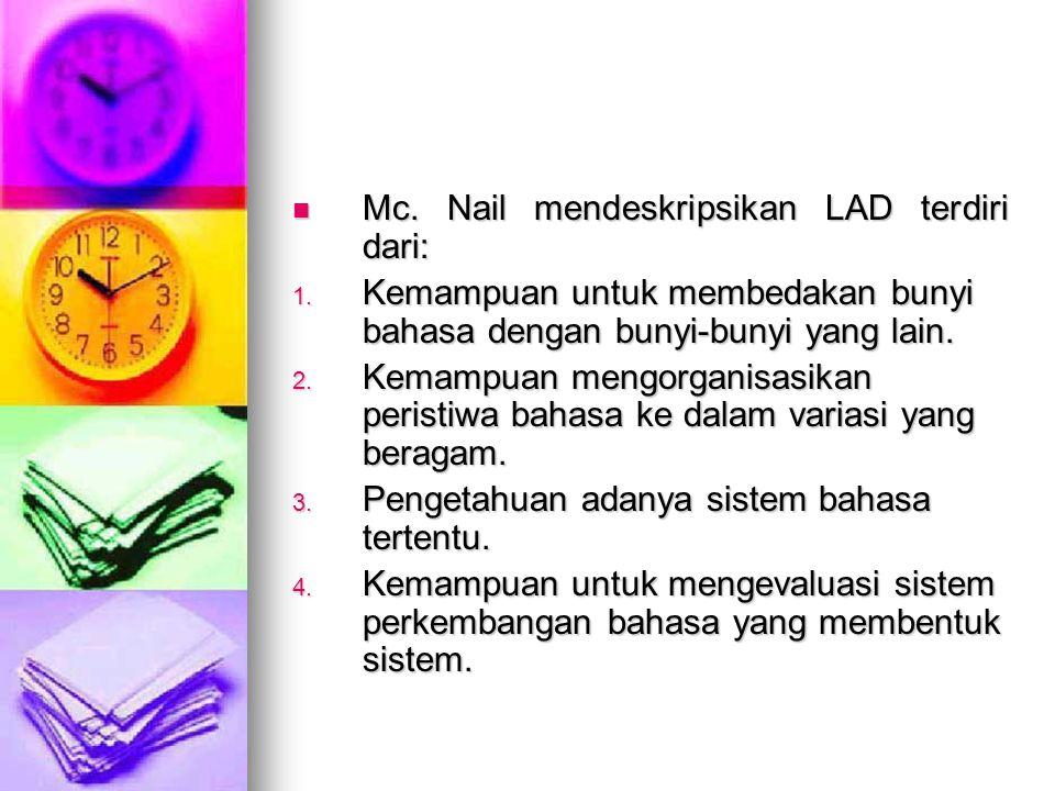 Mc. Nail mendeskripsikan LAD terdiri dari: