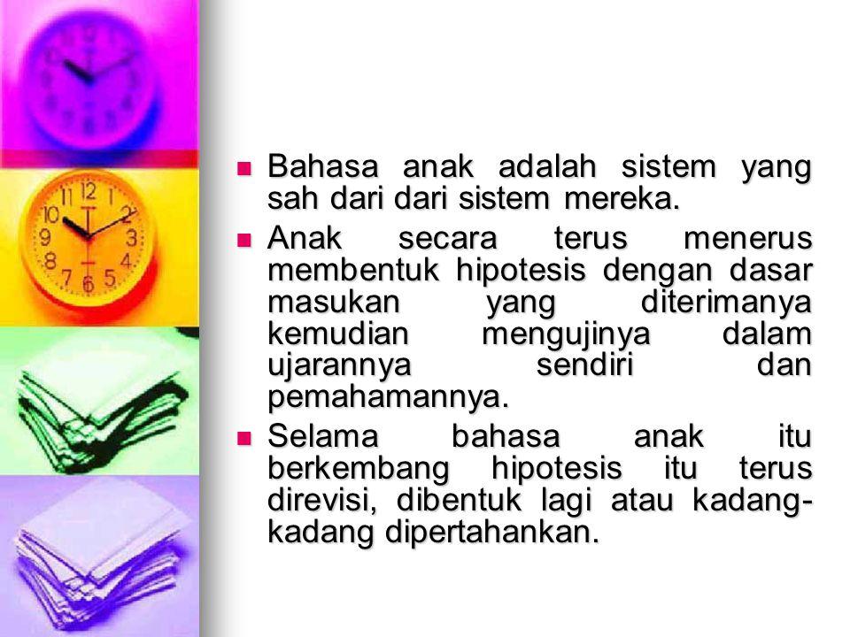 Bahasa anak adalah sistem yang sah dari dari sistem mereka.