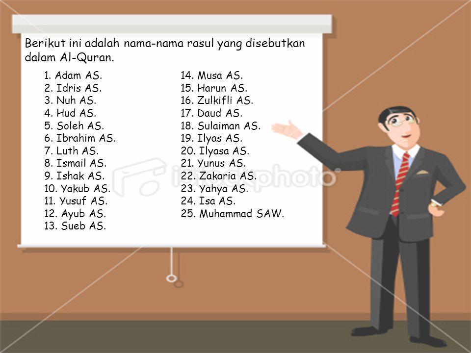 Berikut ini adalah nama-nama rasul yang disebutkan dalam Al-Quran.