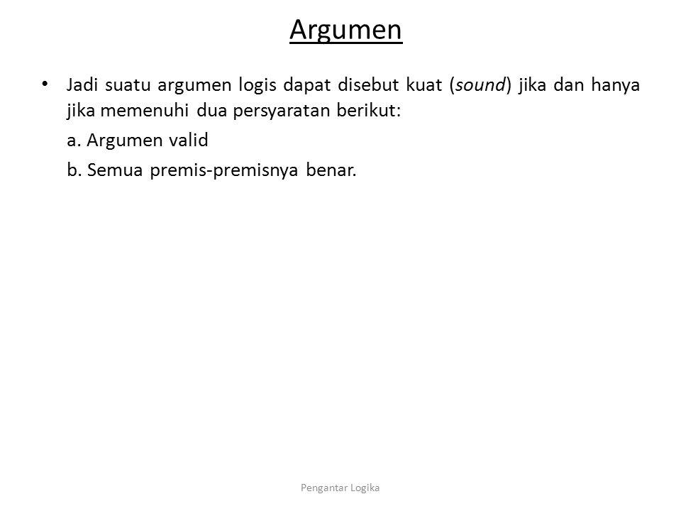 Argumen Jadi suatu argumen logis dapat disebut kuat (sound) jika dan hanya jika memenuhi dua persyaratan berikut: