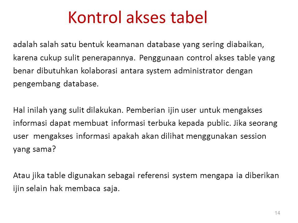 Kontrol akses tabel