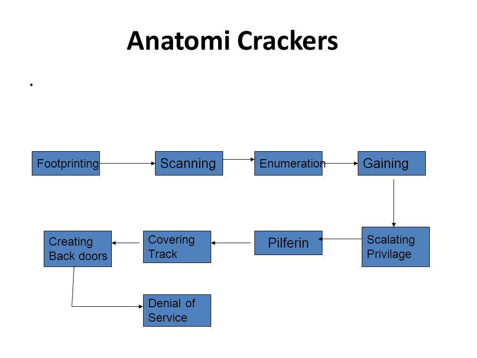 Anatomi Crackers . Scanning Gaining Pilferin Footprinting Enumeration