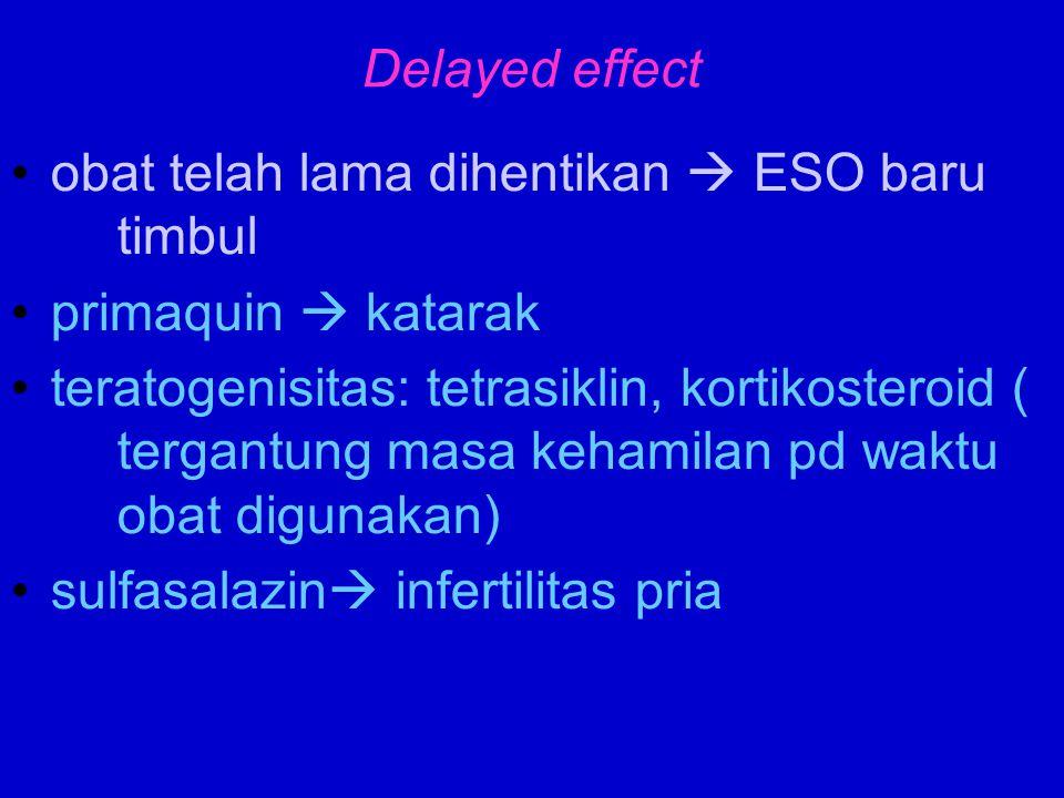 Delayed effect obat telah lama dihentikan  ESO baru timbul. primaquin  katarak.