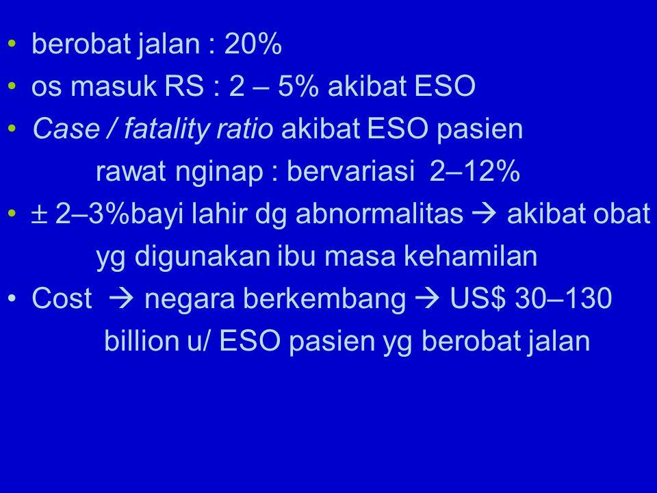 berobat jalan : 20% os masuk RS : 2 – 5% akibat ESO. Case / fatality ratio akibat ESO pasien. rawat nginap : bervariasi 2–12%