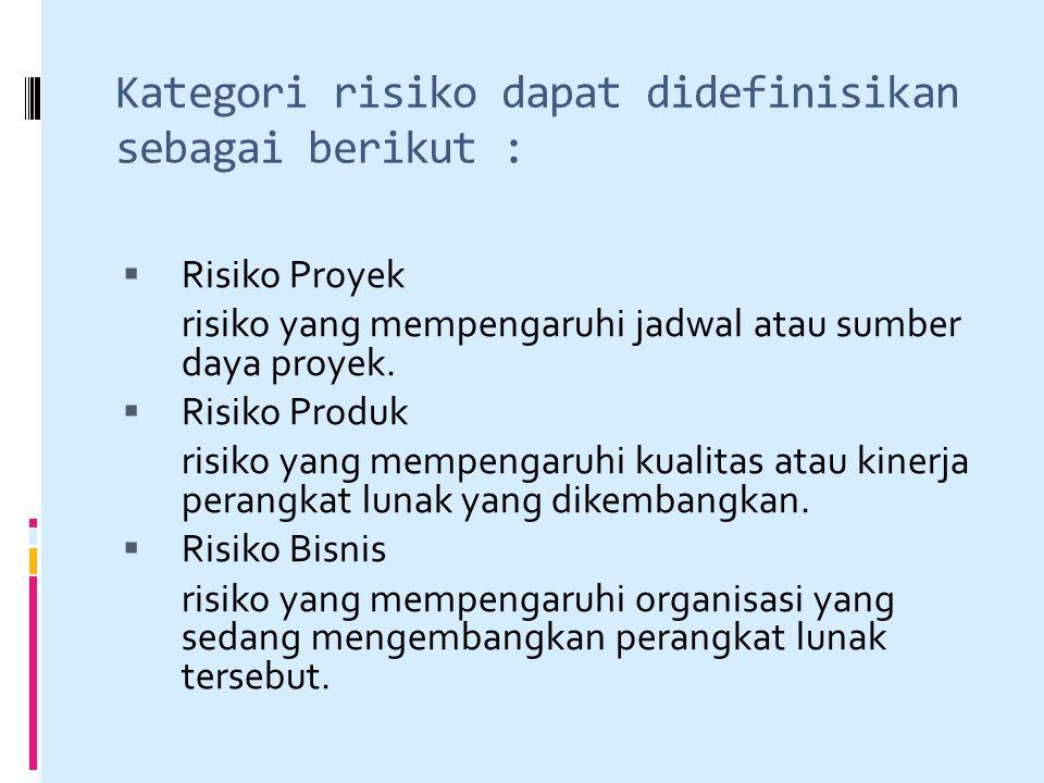 Kategori risiko dapat didefinisikan sebagai berikut :