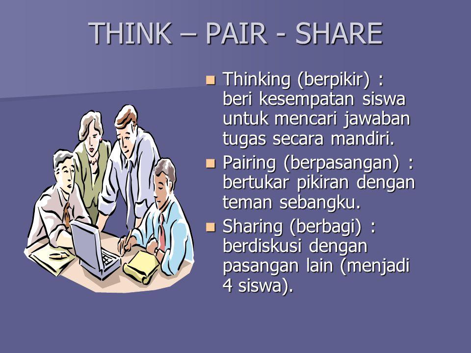 THINK – PAIR - SHARE Thinking (berpikir) : beri kesempatan siswa untuk mencari jawaban tugas secara mandiri.