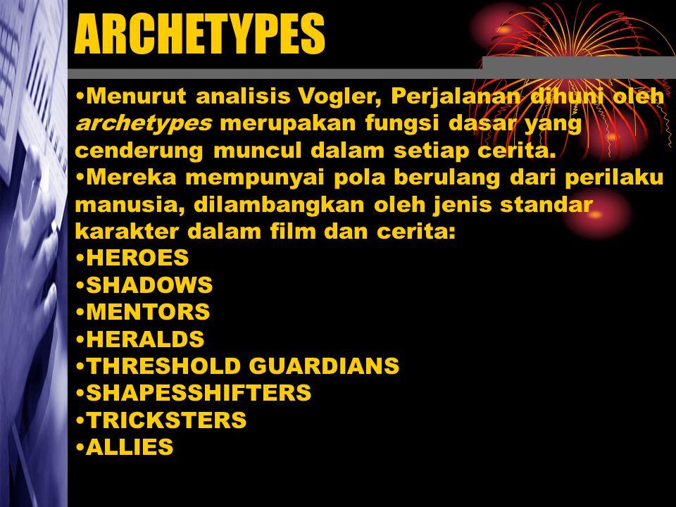 ARCHETYPES Menurut analisis Vogler, Perjalanan dihuni oleh archetypes merupakan fungsi dasar yang cenderung muncul dalam setiap cerita.