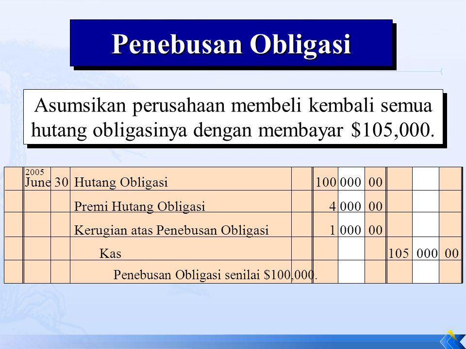 Penebusan Obligasi Asumsikan perusahaan membeli kembali semua hutang obligasinya dengan membayar $105,000.