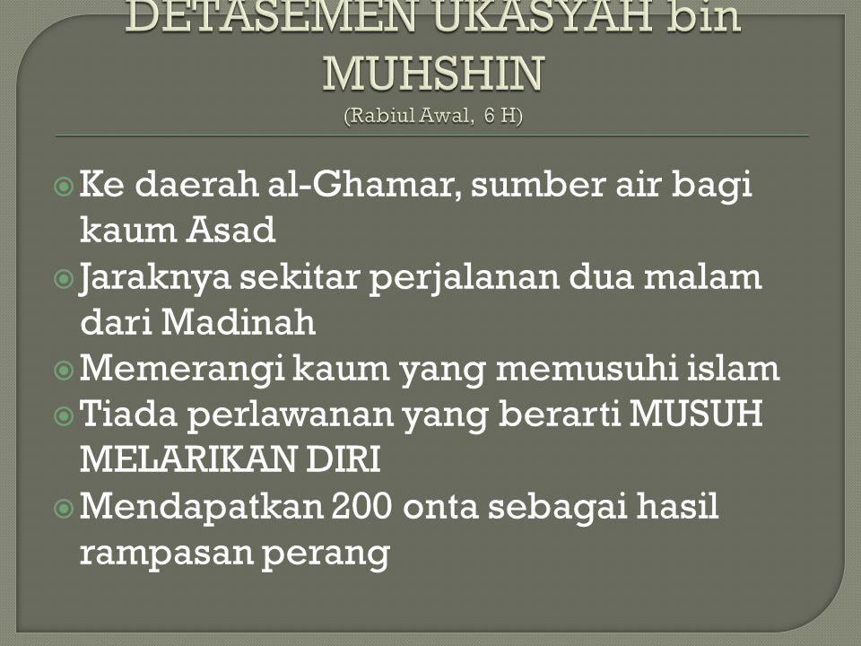 DETASEMEN UKASYAH bin MUHSHIN (Rabiul Awal, 6 H)