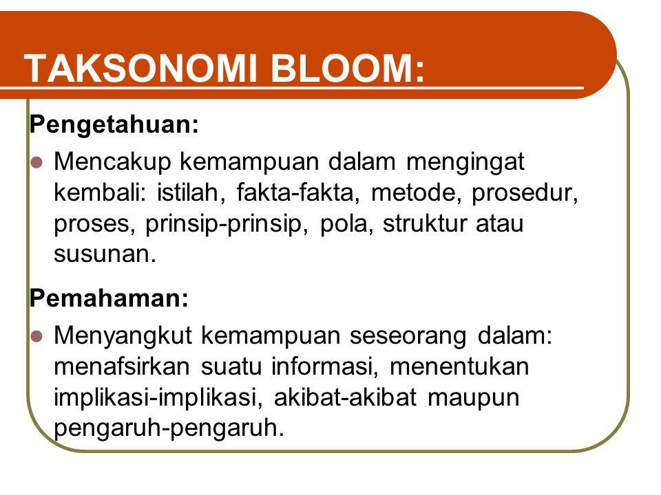 TAKSONOMI BLOOM: Pengetahuan: