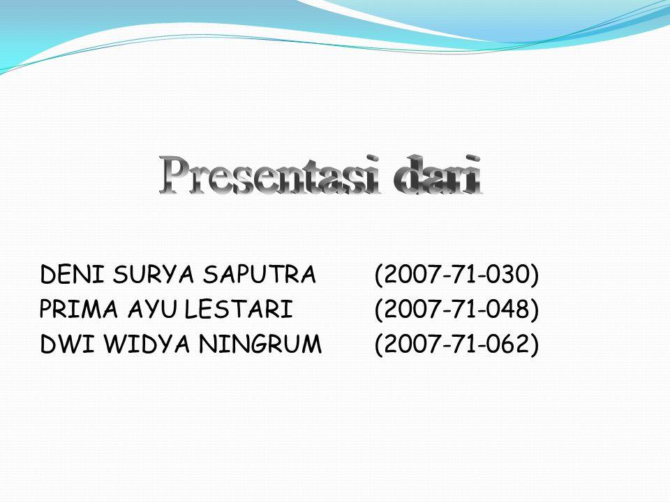 Presentasi dari DENI SURYA SAPUTRA (2007-71-030)