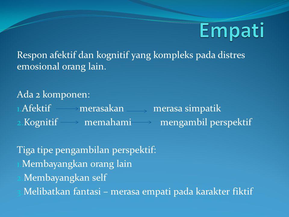 Empati Respon afektif dan kognitif yang kompleks pada distres emosional orang lain. Ada 2 komponen: