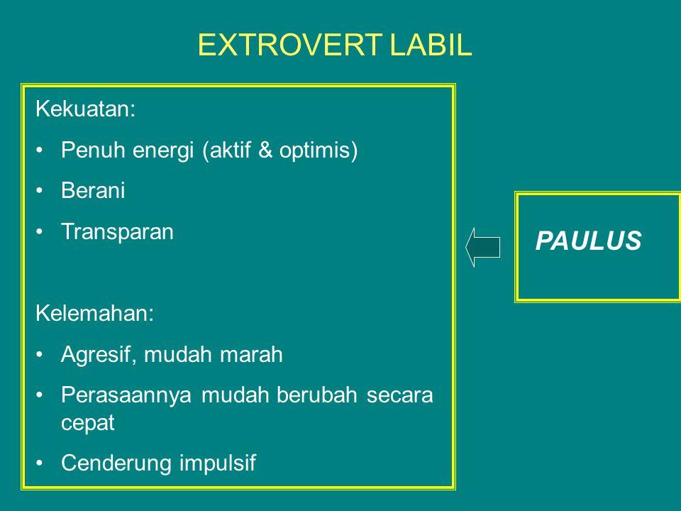 EXTROVERT LABIL PAULUS Kekuatan: Penuh energi (aktif & optimis) Berani