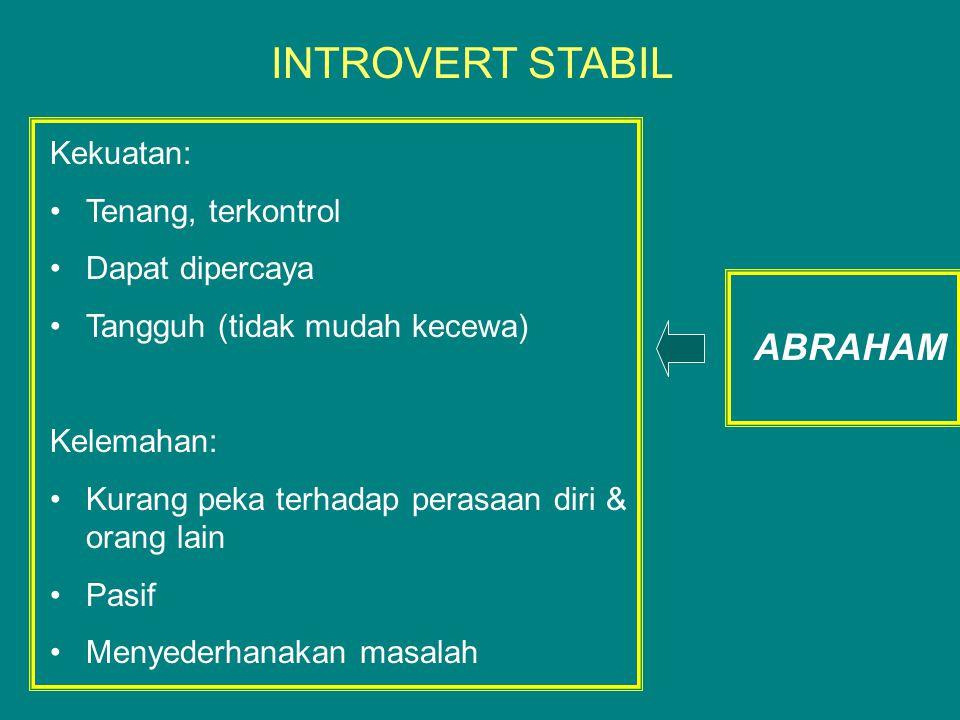 INTROVERT STABIL ABRAHAM Kekuatan: Tenang, terkontrol Dapat dipercaya