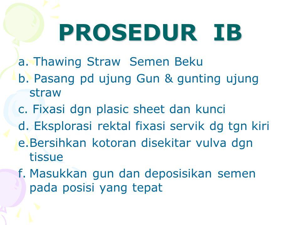 PROSEDUR IB a. Thawing Straw Semen Beku