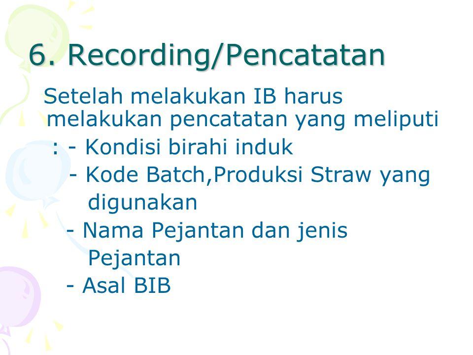 6. Recording/Pencatatan