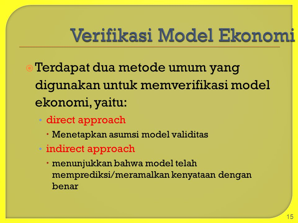Verifikasi Model Ekonomi