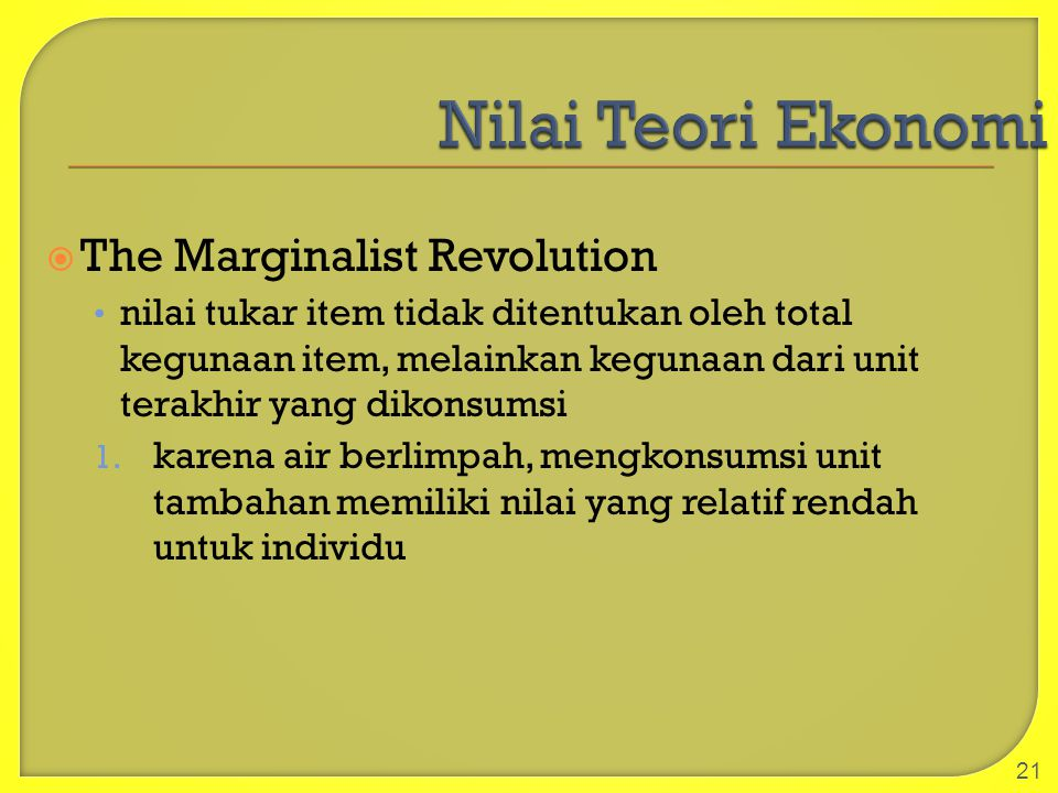 Nilai Teori Ekonomi The Marginalist Revolution