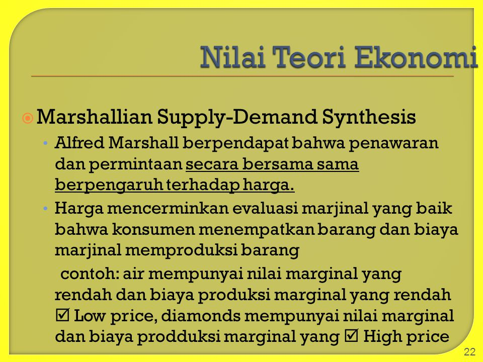 Nilai Teori Ekonomi Marshallian Supply-Demand Synthesis