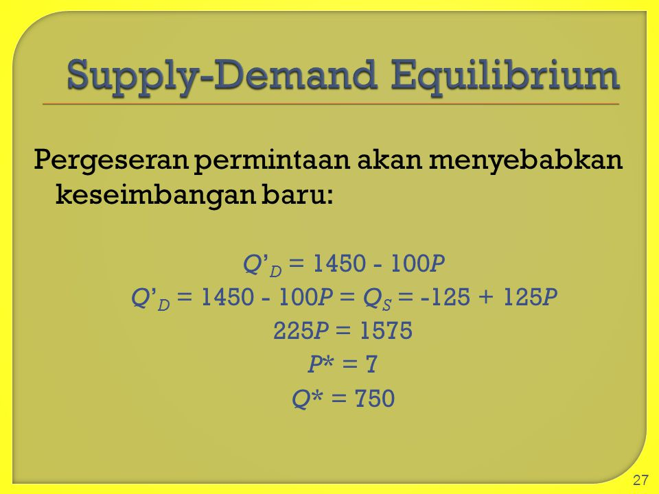 Supply-Demand Equilibrium