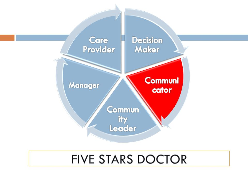 Five STARS Doctor Decision Maker Communicator Community Leader