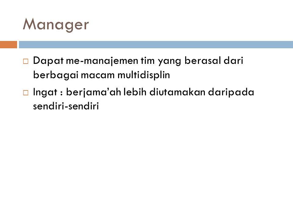 Manager Dapat me-manajemen tim yang berasal dari berbagai macam multidisplin.