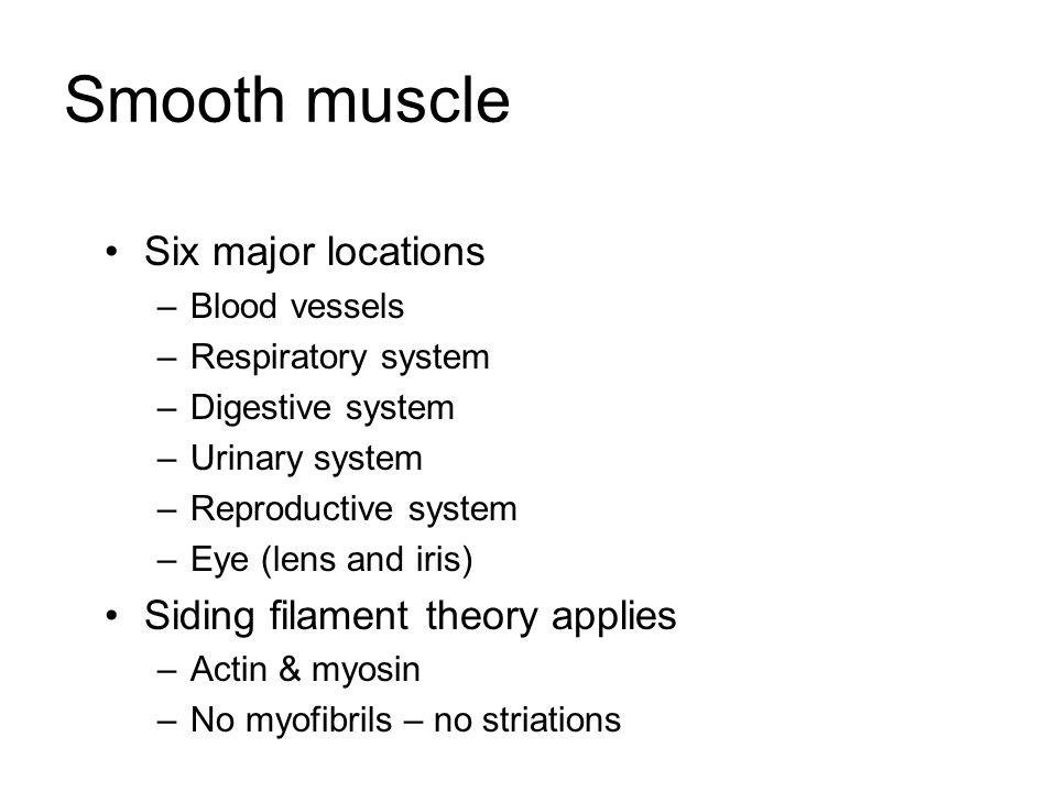 Smooth muscle Six major locations Siding filament theory applies