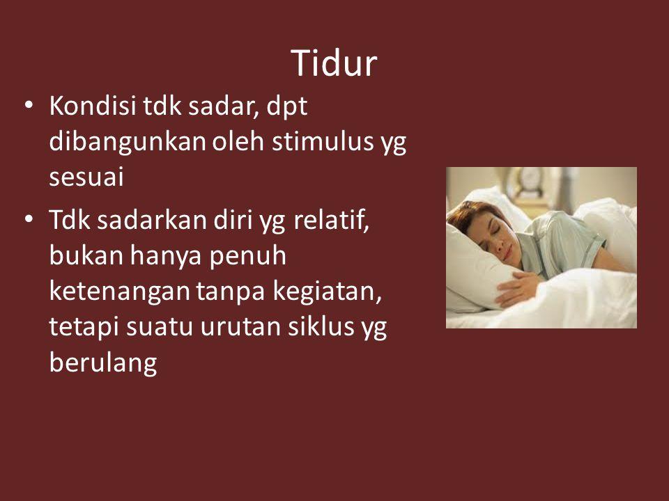 Tidur Kondisi tdk sadar, dpt dibangunkan oleh stimulus yg sesuai