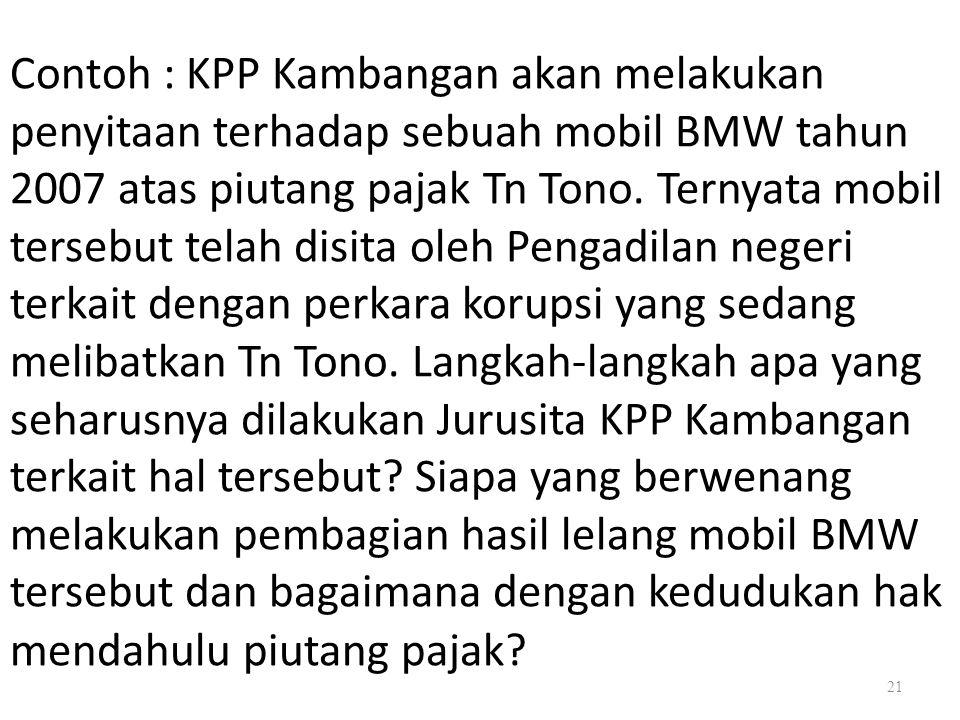 Contoh : KPP Kambangan akan melakukan penyitaan terhadap sebuah mobil BMW tahun 2007 atas piutang pajak Tn Tono.