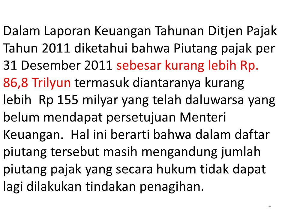 Dalam Laporan Keuangan Tahunan Ditjen Pajak Tahun 2011 diketahui bahwa Piutang pajak per 31 Desember 2011 sebesar kurang lebih Rp.