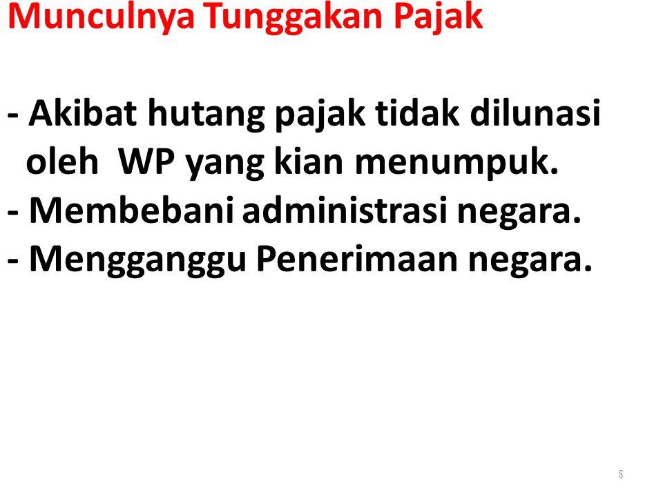 Munculnya Tunggakan Pajak - Akibat hutang pajak tidak dilunasi oleh WP yang kian menumpuk.
