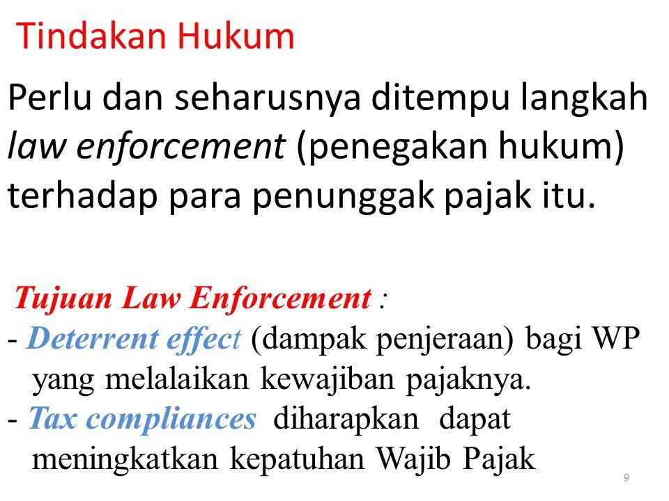 Tindakan Hukum Perlu dan seharusnya ditempu langkah law enforcement (penegakan hukum) terhadap para penunggak pajak itu.