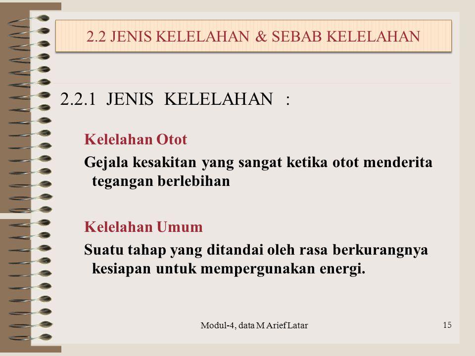 2.2 JENIS KELELAHAN & SEBAB KELELAHAN