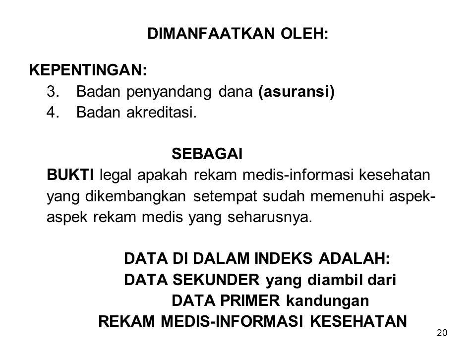 DIMANFAATKAN OLEH: KEPENTINGAN: 3. Badan penyandang dana (asuransi) 4. Badan akreditasi. SEBAGAI.