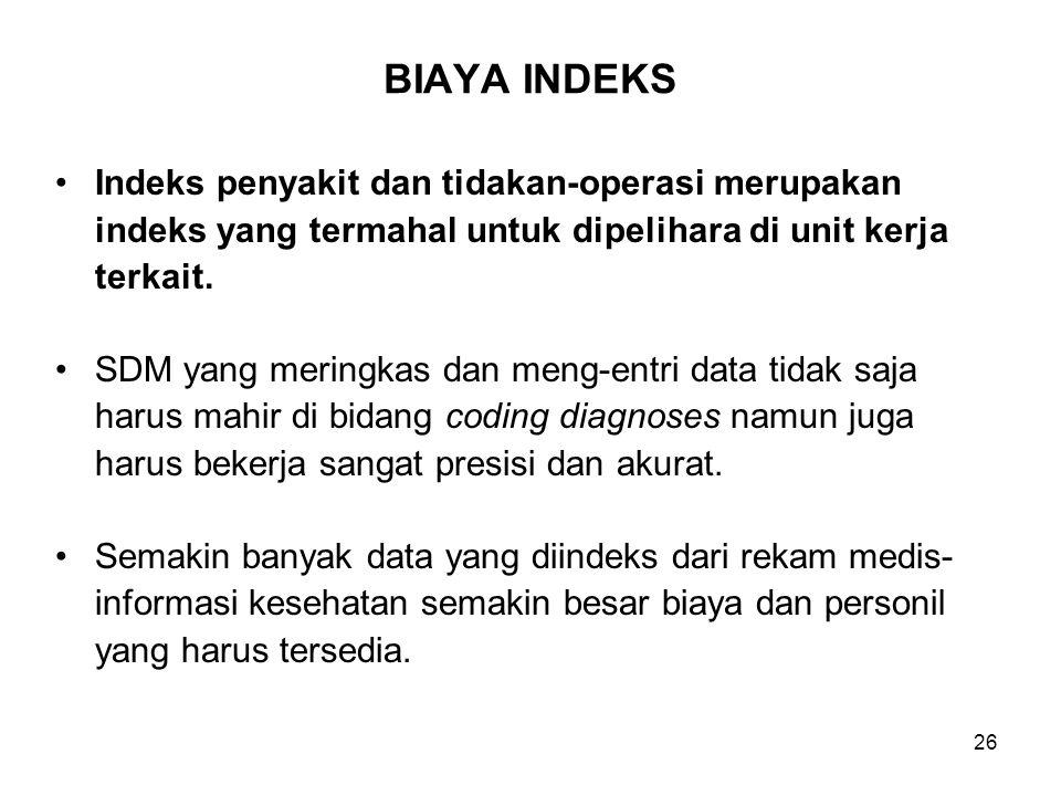 BIAYA INDEKS Indeks penyakit dan tidakan-operasi merupakan