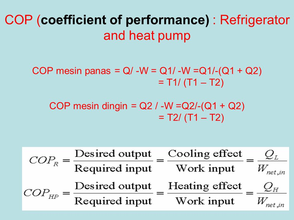 COP (coefficient of performance) : Refrigerator and heat pump COP mesin panas = Q/ -W = Q1/ -W =Q1/-(Q1 + Q2) = T1/ (T1 – T2) COP mesin dingin = Q2 / -W =Q2/-(Q1 + Q2) = T2/ (T1 – T2)