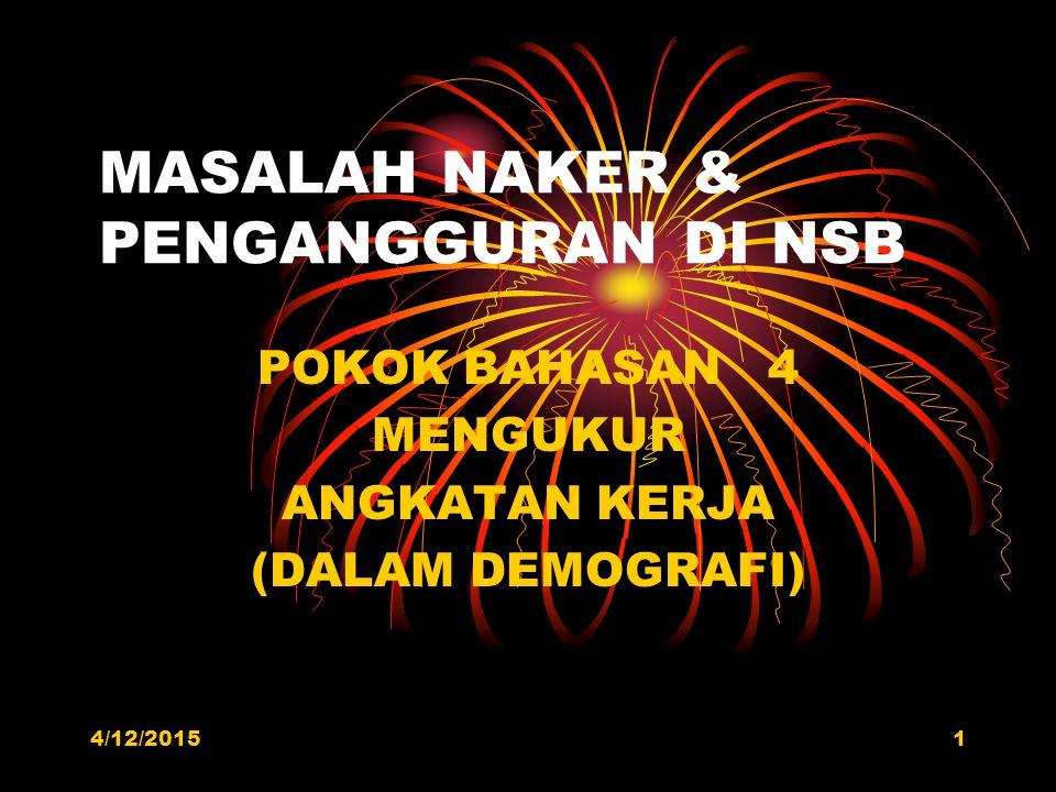 MASALAH NAKER & PENGANGGURAN DI NSB