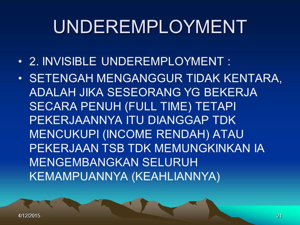 UNDEREMPLOYMENT 2. INVISIBLE UNDEREMPLOYMENT :