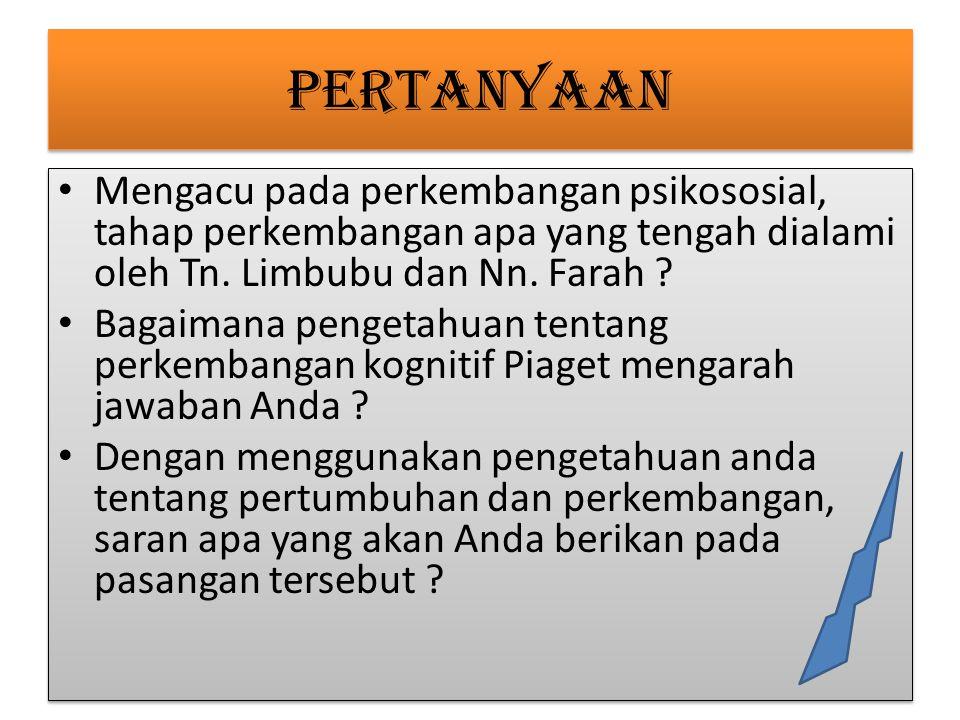 PERTANYAAN Mengacu pada perkembangan psikososial, tahap perkembangan apa yang tengah dialami oleh Tn. Limbubu dan Nn. Farah