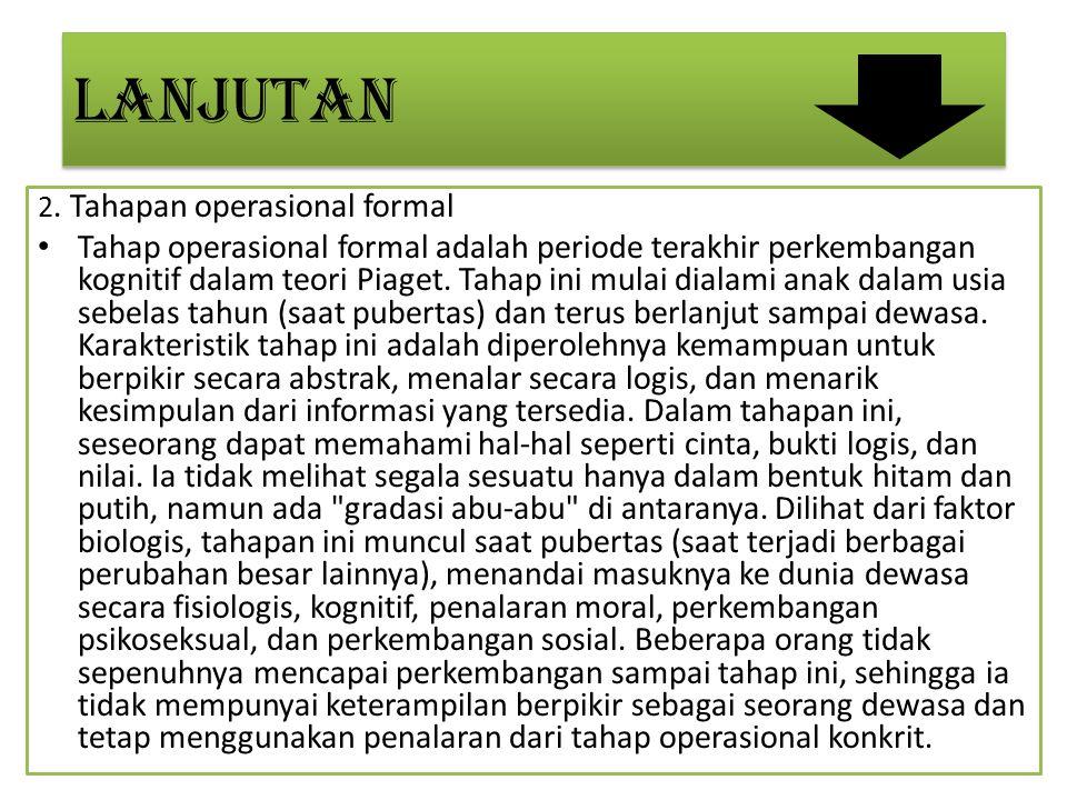 LANJUTAN 2. Tahapan operasional formal.
