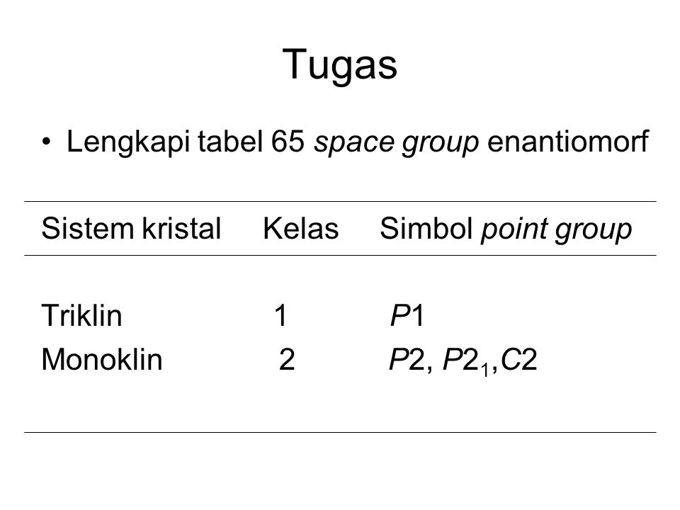 Tugas Lengkapi tabel 65 space group enantiomorf
