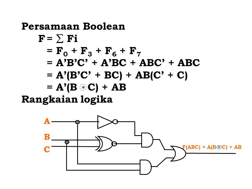 = A'B'C' + A'BC + ABC' + ABC = A'(B'C' + BC) + AB(C' + C)