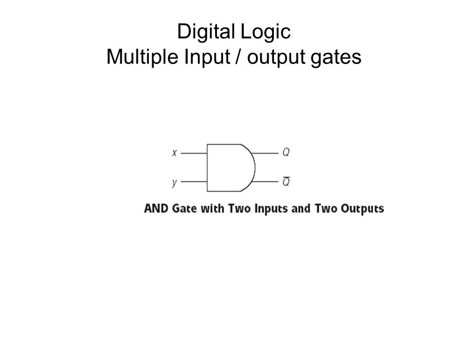 Digital Logic Multiple Input / output gates