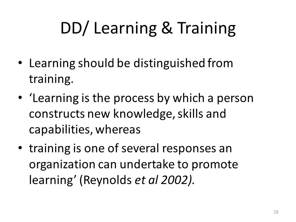 DD/ Learning & Training